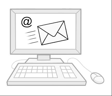 Zeichnung Computer mit E-Mail Symbol