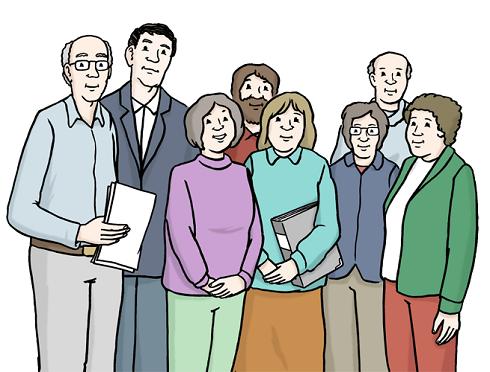 Zeichnung Menschen stehen in einer Gruppe