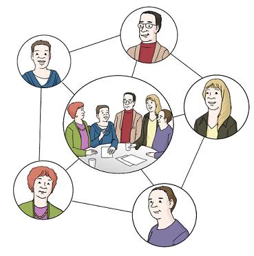 Zeichnung Menschen in einem Netzwerk