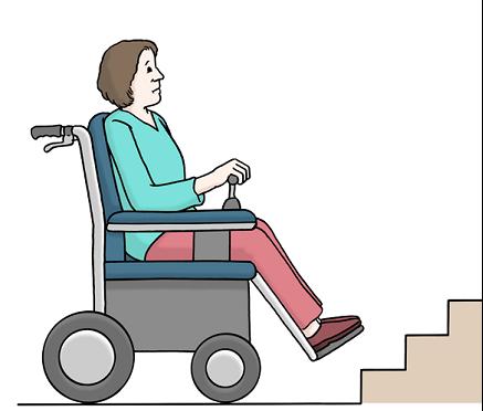 Zeichnung von Frau im Rollstuhl vor einer Treppe
