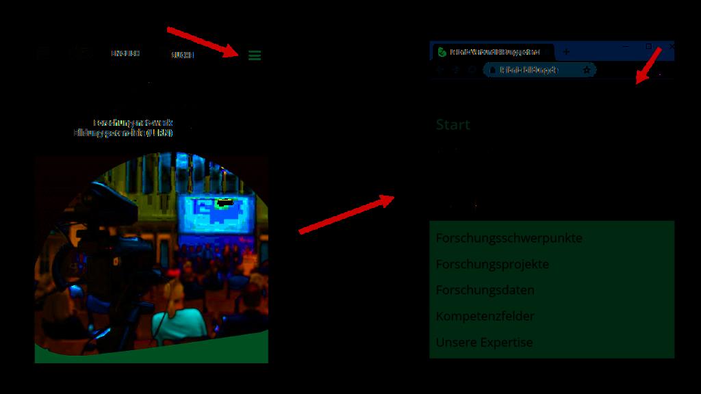 Screenshot LERN-Website mobile Navigation zum Twitter-Symbol
