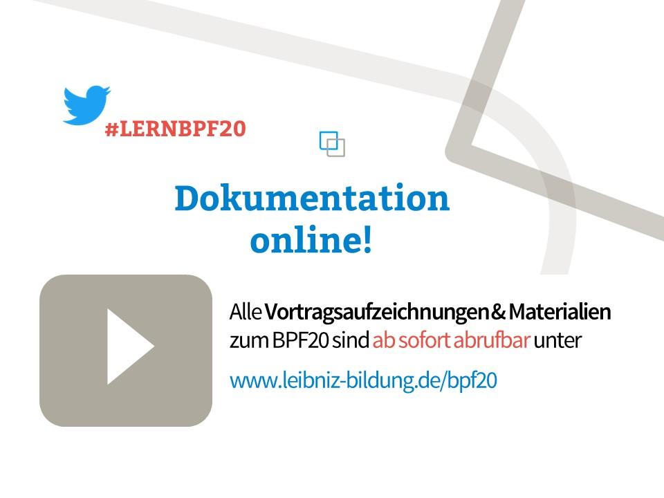 Ankündigung zu Aufzeichnungen des BPF20